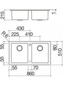 Barazza 1LES92P Lavandino da cucina per installazione Flush Rettangolare Acciaio inossidabile lavello