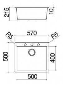 Barazza 1LSO61N Lavello Soul 1 Vasca 57x50cm B_Granite Nero