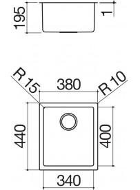 Barazza 1X3440S Lavandino da cucina 1 vasca 34x40cm Acciaio inossidabile