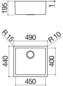 Barazza 1X4540S Lavandino da cucina 1 Vasca 45x40cm Acciaio inossidabile