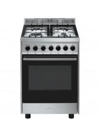 Smeg B60GMXI9 cucina Piano cottura Nero, Acciaio inossidabile Gas A