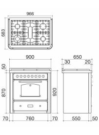 Barazza 1B90M5AVIM Cucina Classica 90cm 5 fuochi con maniglione Avorio/Inox