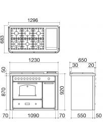 Barazza 1B120ANIM Cucina Classica 120cm 6 fuochi con maniglione Antracite/Inox