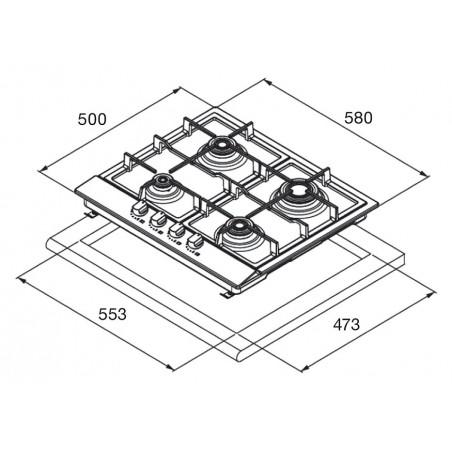 BLANCO Piano cottura gas Exclusive 6x5-4 58cm 4 fuochi (varie colorazioni)